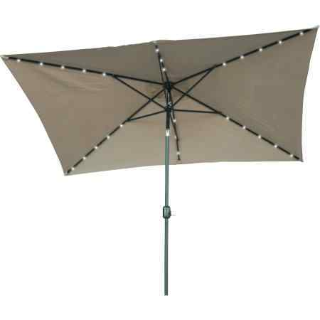 Rectangular Solar Powered LED Lighted Patio Umbrella by Trademark Innovations