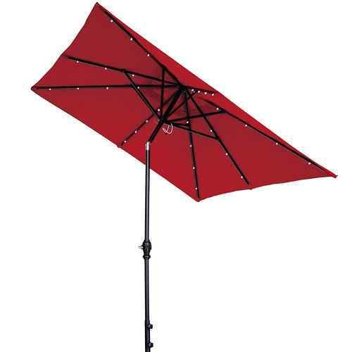 7' x 9' Rectangular Patio Umbrella 2ith Solar Powered 32 LED Lights by Abba Patio