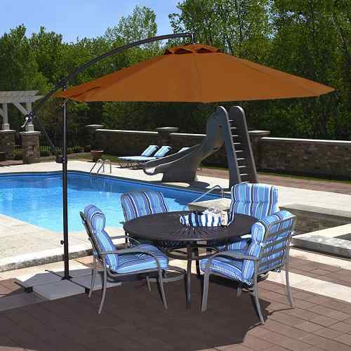 Blue Wave Santorini II Antique Beige Offset Patio Umbrella
