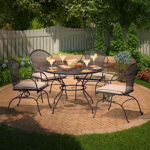 Hamlake 5 Piece Wrought Iron Motion Patio Dining Set