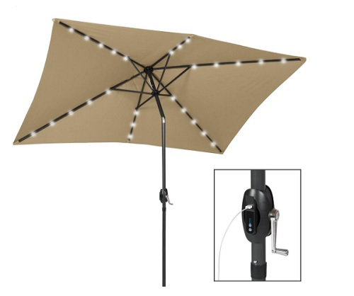 10' x 6.5' LED Lighted Patio Umbrella with Portable Power Bank by Best Choice Products