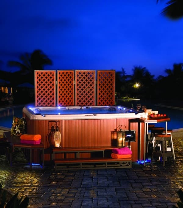 natural hot tub treatment feature