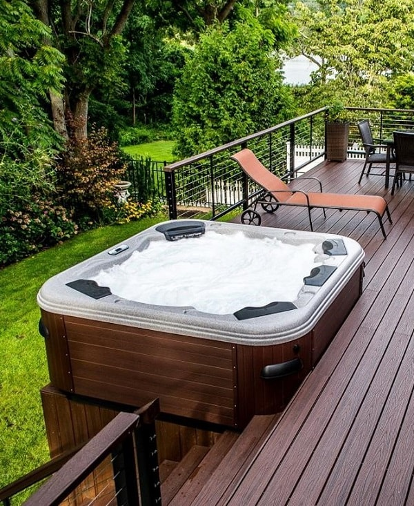 plastic hot tub feature
