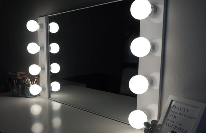 diy vanity mirror with light for bedroom