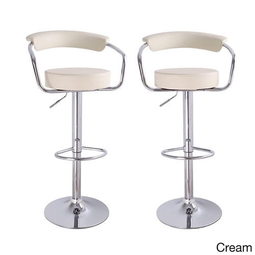 Adeco Modern White Adjustable Hydraulic Lift Barstool Chair