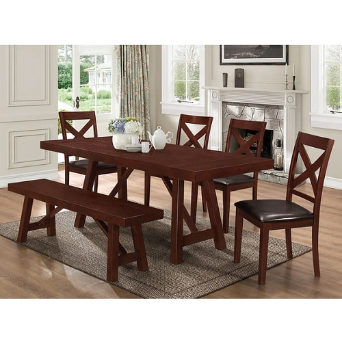 Brown Solid Wood 5 Piece Trestle Dining Bench Price Kitchen Table Sets  Under 200 5