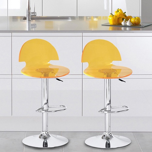 Transparent Yellow Acrylic Hydraulic Lift Adjustable Barstool