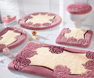 3 piece bathroom rug sets