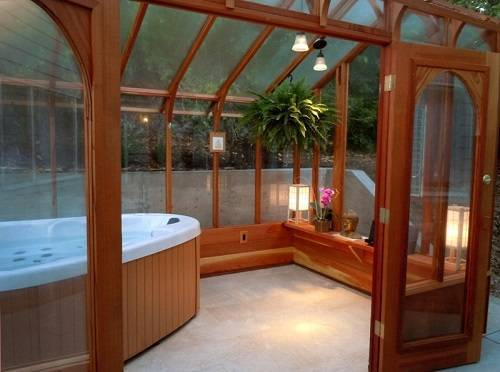 wooden hot tub enclosure