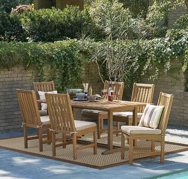 grand resort patio furniture review | 7 piece natural wood dining set