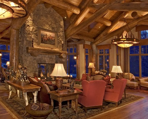 Log Home Living Rooms 13