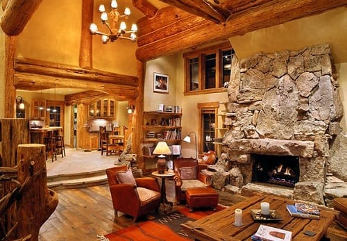 Log Home Living Rooms 4