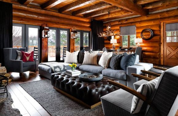 Log Home Living Rooms Featured