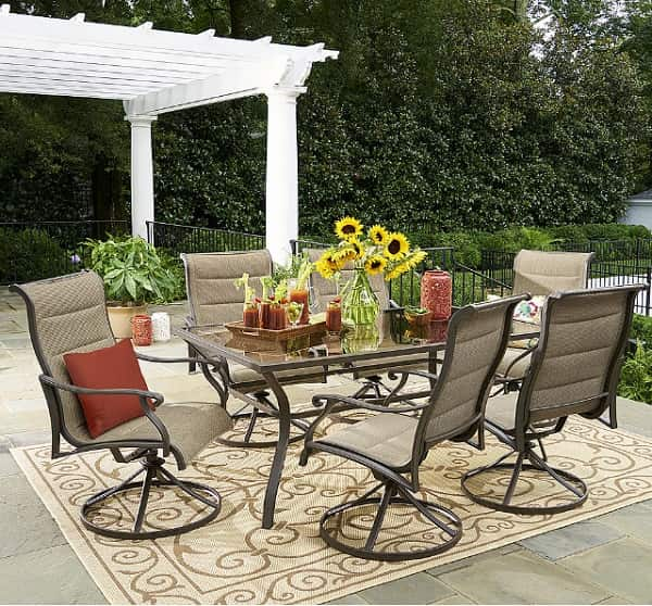 Grand resort patio furniture sets review oakdale 7 piece for Furniture 7 reviews
