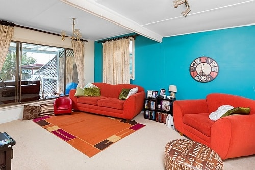 Teal And Red Living Room 10
