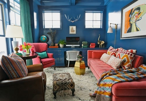 Teal And Red Living Room 11