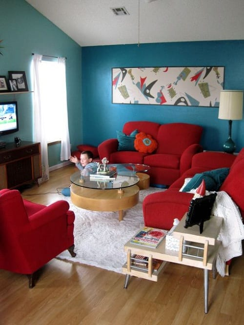 Teal And Red Living Room 2