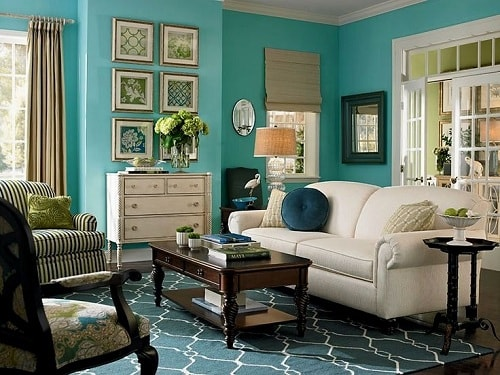 13 kinds of teal living room accessories to renew the views for Teal living room accessories