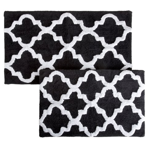 20 gorgeous black and white bathroom rugs under 70 for Black and white bathroom mats