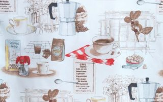 coffee themed kitchen curtain