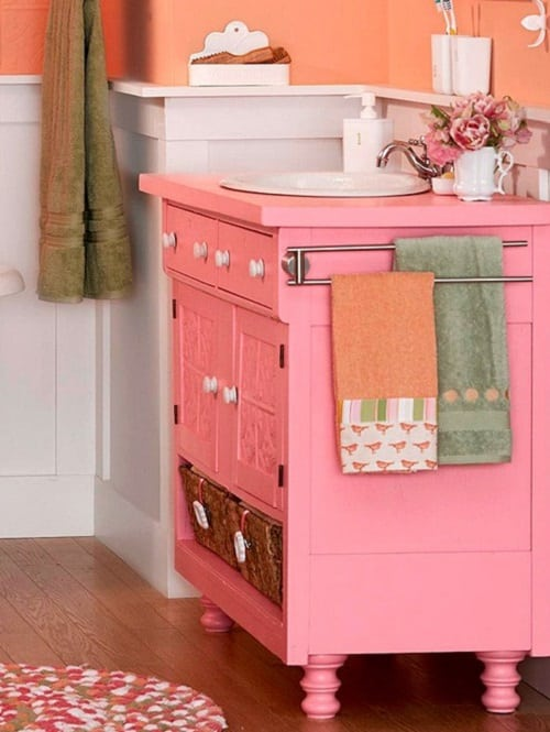 Pretty Pink Bathroom Vanity