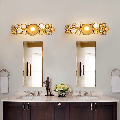 20 mesmerizing gold bathroom light fixtures ideas under 200 for Gold bathroom wall lights