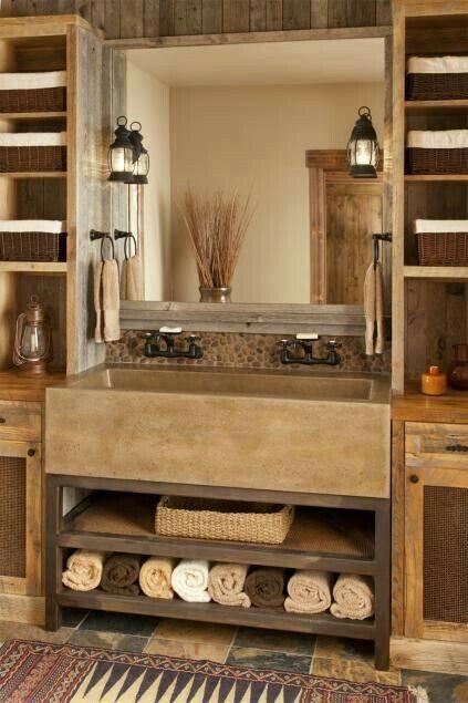 weathered wood bathroom vanity