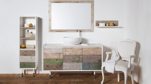 weathered wood bathroom vanity