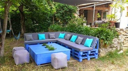 wood pallet seating set ideas 19
