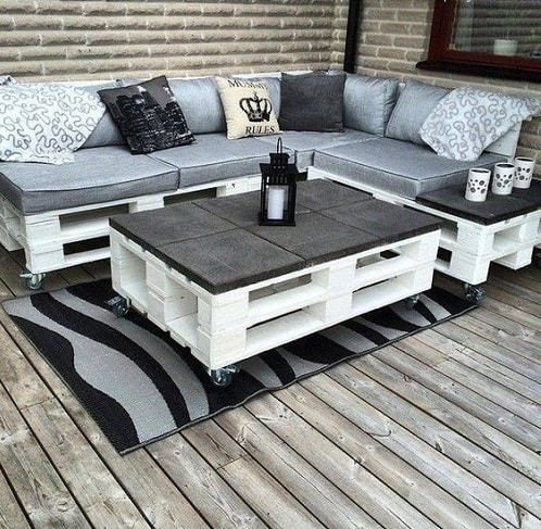 Silver And White Pallet Sofa