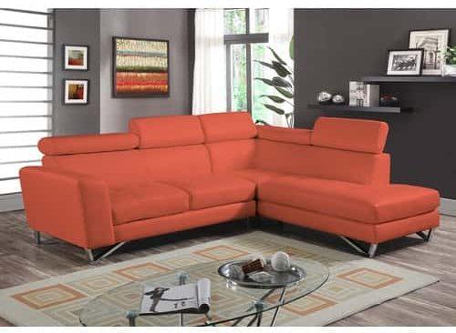 2pc Sectional Orange Microfiber