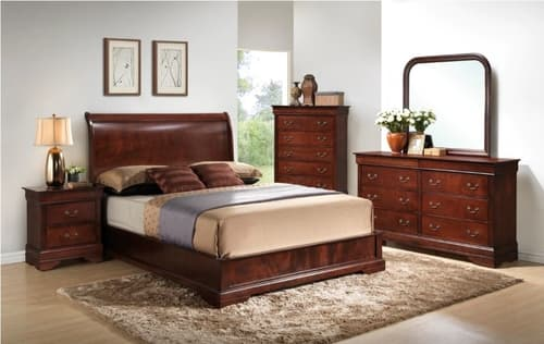Claire 4-Piece King Bedroom Set – Brown Cherry