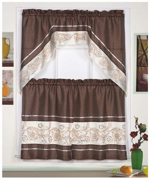 Coffee Curtain with Embroidered Gold