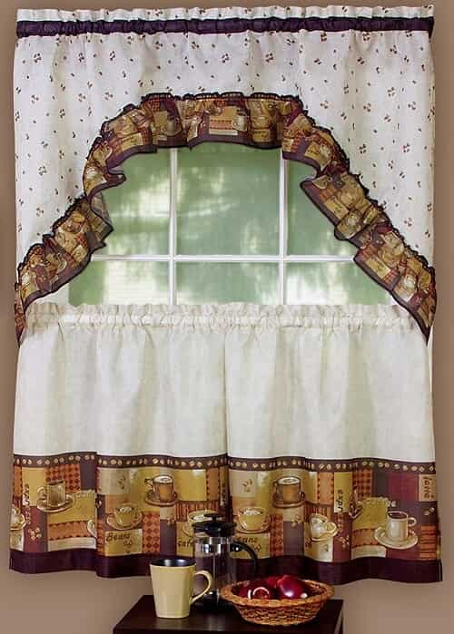 kitchen curtains coffee cup design coffee themed kitchen curtains coffee tier amp swag set review 7908