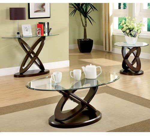 Glass Table Sets For Living Room | Evalline Dark Walnut Table Set Review