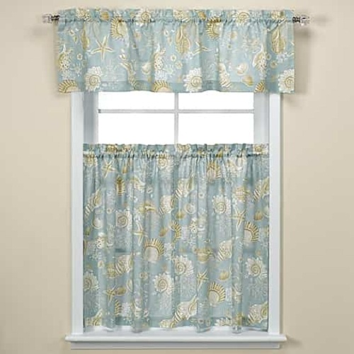 Coastal Kitchen Curtains Natural Shell Kitchen Tiers Review