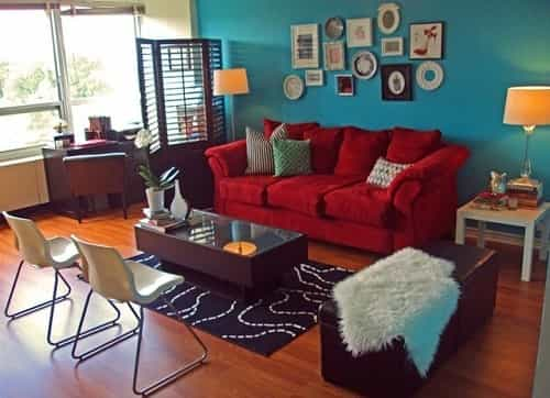Teal And Red Living Room 6