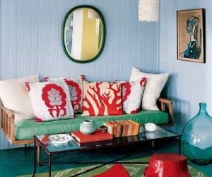 Teal And Red Living Room Featured