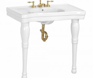 white spindle console sink