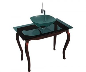 glass console sink with wooden legs
