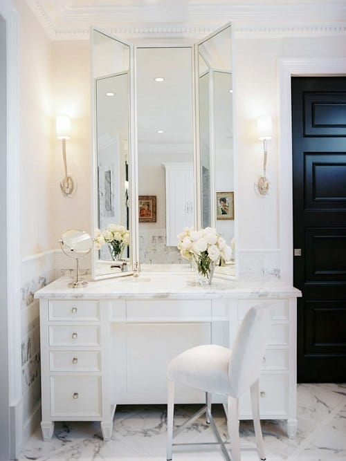 10+ stunning & gorgeous bathroom vanity with makeup station ideas