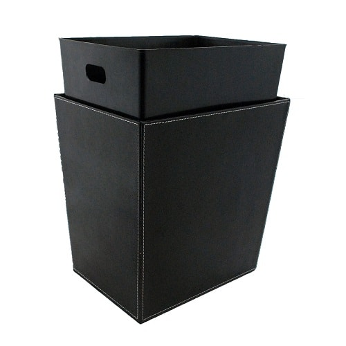 black bathroom trash can