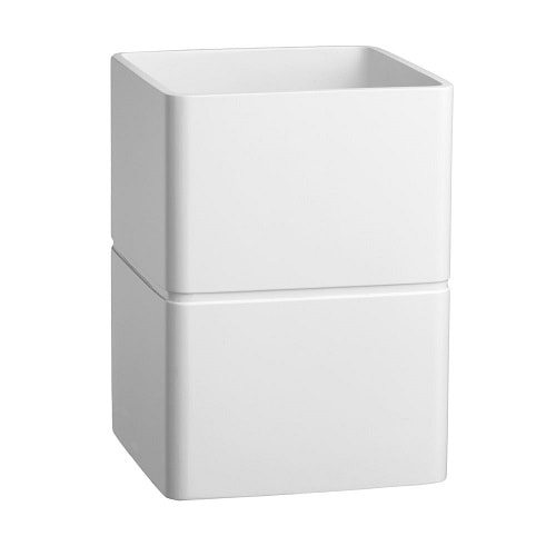 white bathroom trash can