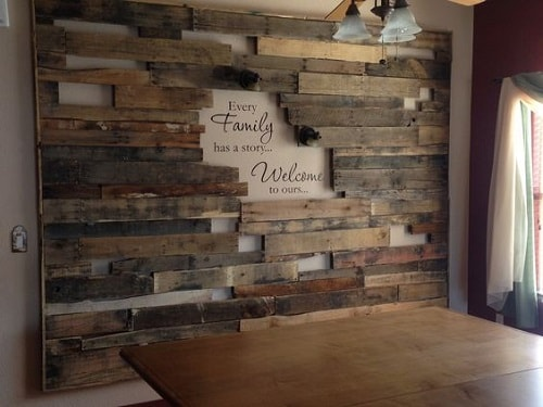 20 most unique wood pallet wall decoration for living room - Scrap wood decorated house ...