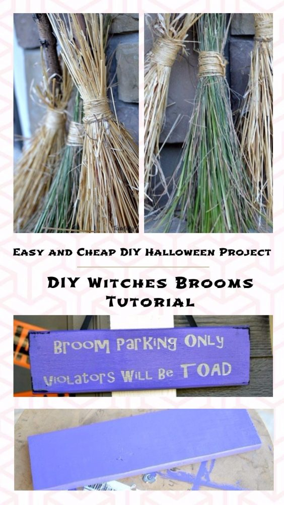 Easy and Cheap DIY Halloween Project: DIY Witches Brooms Tutorial
