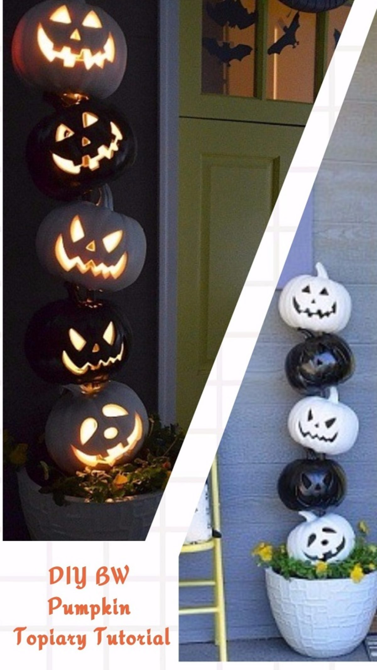 Easy And Cheap Diy Halloween Project Diy Bw Pumpkin Topiary Tutorial