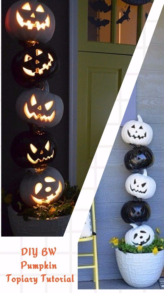 Easy and Cheap DIY Halloween Project: DIY BW Pumpkin Topiary Tutorial