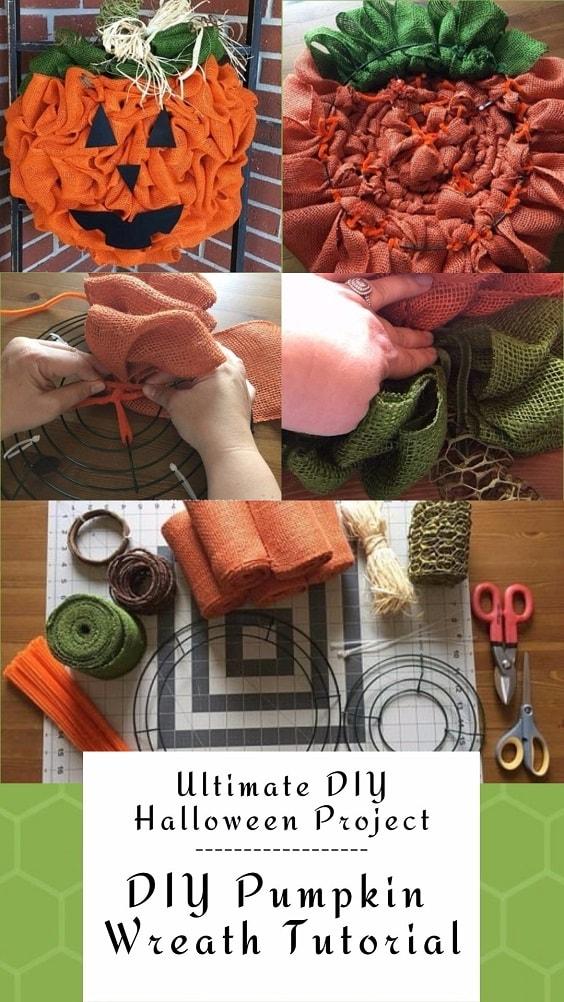 Easy and Cheap DIY Halloween Project: DIY Pumpkin Wreath Tutorial