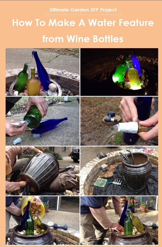 Ultimate Garden DIY Project: How To Make A Water Feature from Wine Bottles