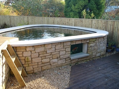 20 most clever above ground koi pond with window ideas for Above ground pond ideas
